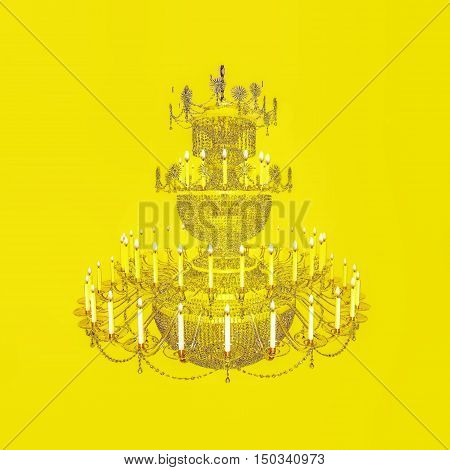 Chandelier out of crystals of 3-tier with candles. 3D illustration