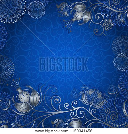Blue vintage frame with silvery flowers vector