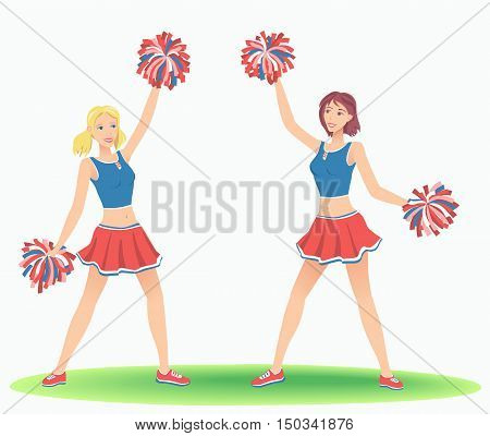 Cheerleading Dance. Girls cheers with pom-poms. Support team dancing.