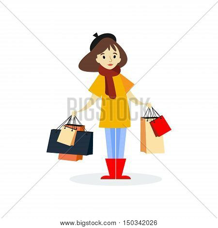 Young autumn girl with shopping bags . Flat woman character. Isolated on white background - vector illustration. Buyer. Sale.