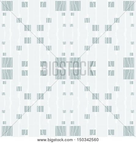 Abstract geometric seamless background. Regular squares pattern gray with stripes and wiggly lines in white on light gray.