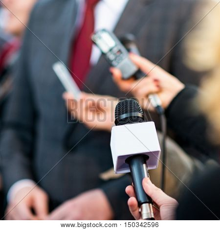 media interview, press conference, square image. close up