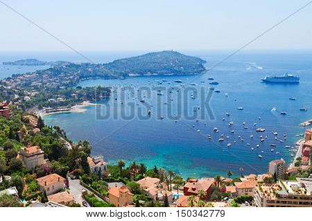 landscape of riviera coast and turquiose water of Mediterranean sea, cote dAzur at sunny summer day, France