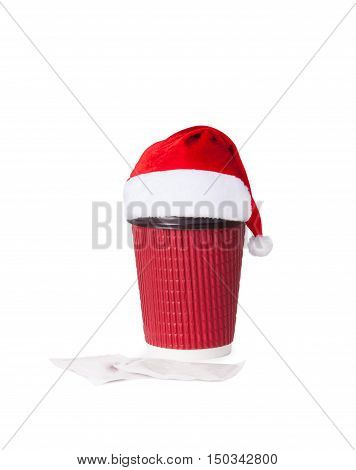 Disposable Cup In Santa Hat Of Coffee Isolated