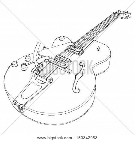 Stylized Guitar. Retro . Jazz Electric . Musical Instrument. Music. Rock. Line Art. Drawing By Hand.