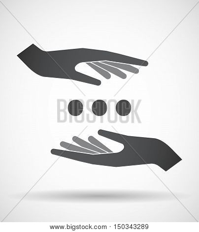 Isolated Pair Of Hands Protecting Or Giving  An Ellipsis Orthographic Sign