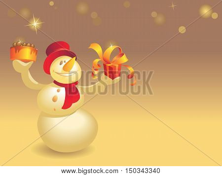Snowman With Cake And Gift On Gold