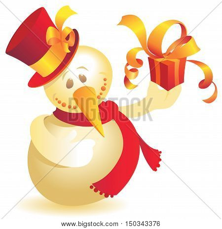 Snowman in top hat with gift. Vector illustration.