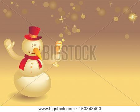 Snowman With Wineglass On Gold