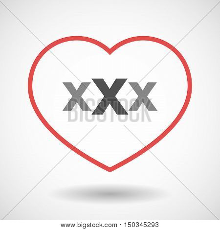 Isolated Line Art Red Heart With  A Xxx Letter Icon