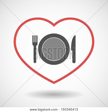 Isolated Line Art Red Heart With  A Dish, Knife And A Fork Icon