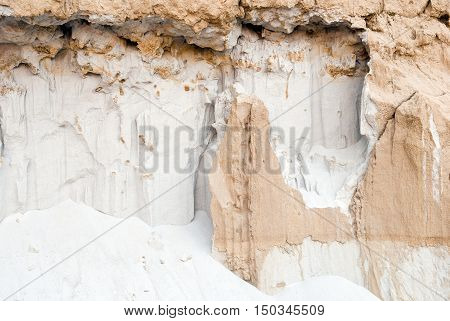 Textured detail showing white sand and beige clay in different shapes and structures at a forsaken quarry