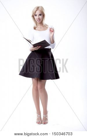 Silhouette of beautiful young adult attractive sexy and sensuality pretty blonde woman elegance business style dress, Isolated on white background