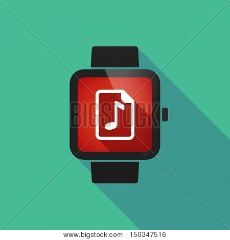 Long Shadow Smart Watch With  A Music Score Icon