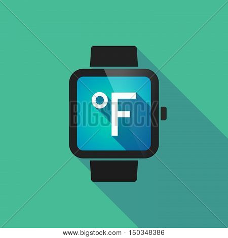 Long Shadow Smart Watch With  A Farenheith Degrees Sign
