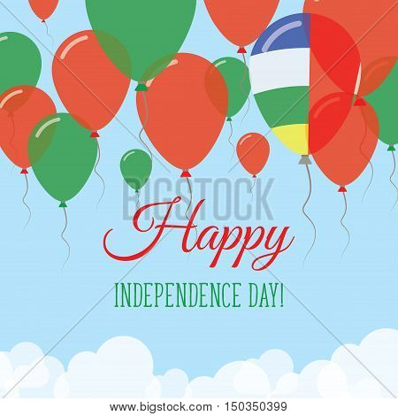 Central African Republic Independence Day Flat Greeting Card. Flying Rubber Balloons In Colors Of Th