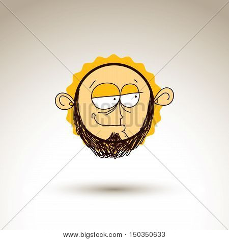 Vector Artistic Colorful Drawing Of Skeptic Person Face, Communication And Social Network Design Ele