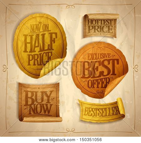 Half price savings, hottest price, best offer, buy now, sale stickers set on a vintage rough paper