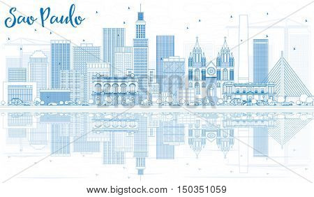 Outline Sao Paulo Skyline with Blue Buildings and Reflections. Vector Illustration. Business Travel and Tourism Concept with Modern Buildings. Image for Presentation Banner Placard and Web Site.