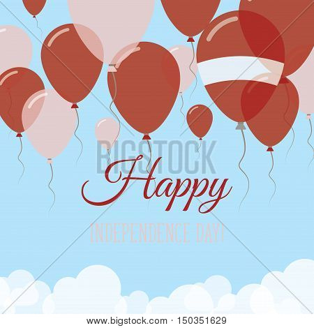 Latvia Independence Day Flat Greeting Card. Flying Rubber Balloons In Colors Of The Latvian Flag. Ha