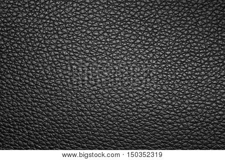 Black leather texture or leather background for design with copy space for text or image. Dark edged.