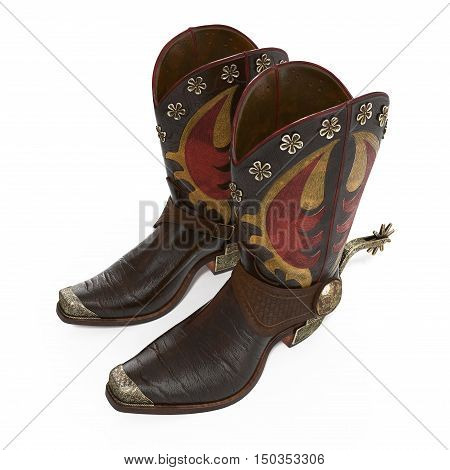 Western boots and spurs isolated on white background. 3D illustration
