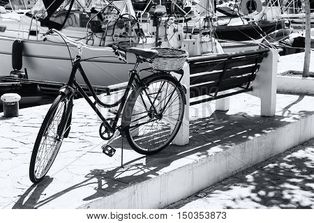 Painted Bicycle on the Embankment of Simi island, Greece