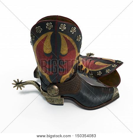 Old western boots and spurs isolated on white background. 3D illustration