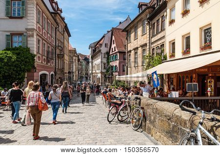 Bamberg Germany - May 22 2016: View the beautiful old Carolinen street in the historic city. Historic city center of Bamberg is a listed UNESCO world heritage site.