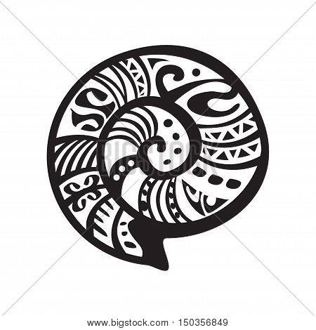 Shell tattoo in Maori style. Vector illustration EPS10