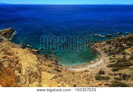 Beautiful sea landscapes on the Rhodes Island in Greece