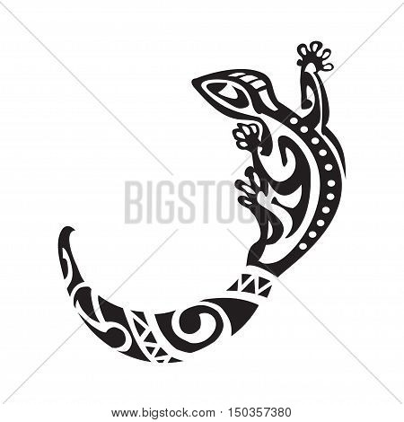 Salamander tattoo in Maori style. Vector illustration EPS10