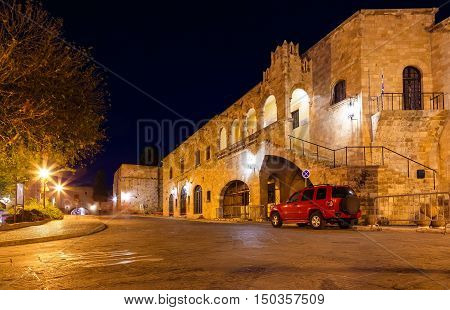 Medieval Avenue at night, a cobblestone street in the Rhodes Citadel , Greece