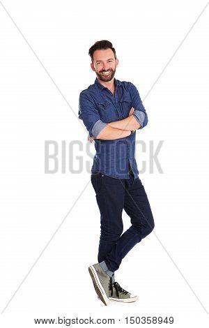 Stylish Mature Man Posing Over White Background