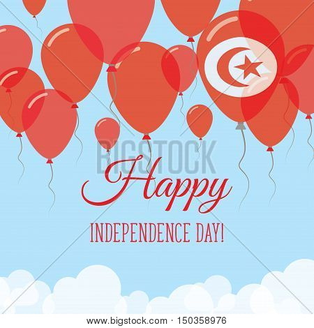 Tunisia Independence Day Flat Greeting Card. Flying Rubber Balloons In Colors Of The Tunisian Flag.