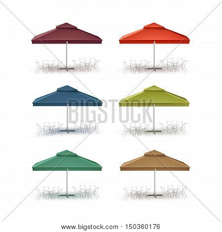 Vector Set of Blue Red Green Brown Blank Patio Outdoor Market Beach Cafe Bar Pub Restaurant Square Umbrella Parasol  for Branding Side Front View Mock up Close up Isolated on White Background