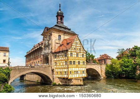Bamberg Germany - May 22 2016: Scenic spring view of the Old Town architecture with City Hall building in Bamberg Germany.