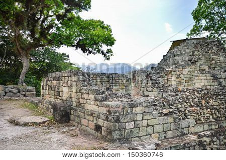 Close up of some of the ancient structures at Copan archaeological site of Maya civilization in Honduras