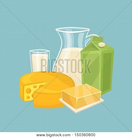 Glass jug with milk, cheese wheel and other dairy products isolated vector illustration. Nutritious and healthy milk products. Natural and healthy food. Organic farmers food. Organic food and dairy product concept. Milk product icon. Cartoon dairy product