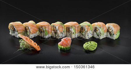 Fresh salmon Uramaki Sushi roll party set