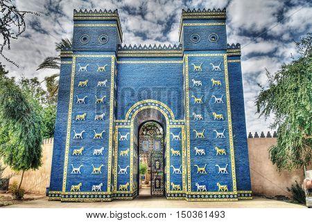 Copy of Ishtar gates in Babylon ruines Iraq