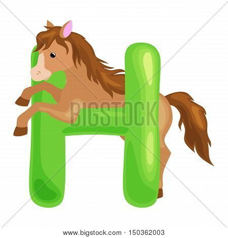 horse animal and letter for kids abc education in preschool.Cute animals letters english alphabet. Cartoon animals alphabet for learning letters vector illustration. Single letter with wild animal horse