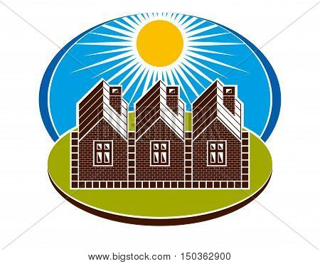 Bright Illustration Of Country Houses And Sunny Landscape. Village Theme, Vector Simple Home. Summer