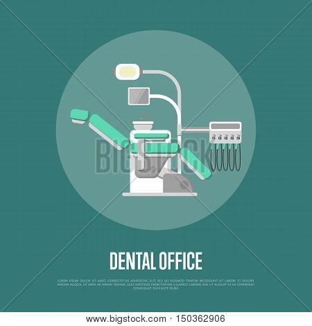 Vector dental chair isolated. Dental office banner with modern dental chair and other accessories used by dentists. Dentistry isolated vector illustration. Dental tools. Detal clinic concept. Dental equipment. Tooth care. Dental care concept.