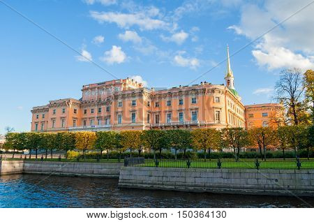 ST PETERSBURG RUSSIA-OCTOBER 3 2016. Mikhailovsky Castle or Engineers Castle in St Petersburg Russia - Northern side view of St Petersburg landmark. Architecture view of St Petersburg Russia