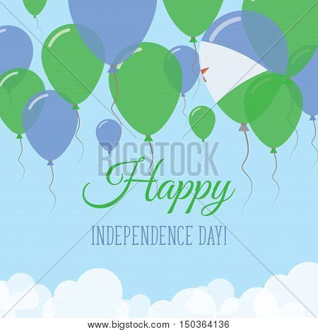 Djibouti Independence Day Flat Greeting Card. Flying Rubber Balloons In Colors Of The Djibouti Flag.