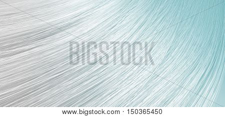 A 3D render of a closeup view of a bunch of shiny straight grey hair with blue undertones in a wavy curved style