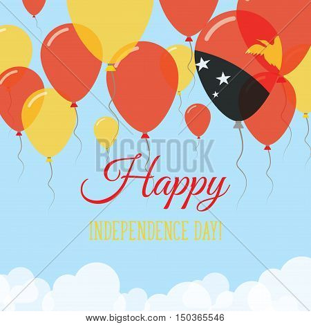 Papua New Guinea Independence Day Flat Greeting Card. Flying Rubber Balloons In Colors Of The Papua