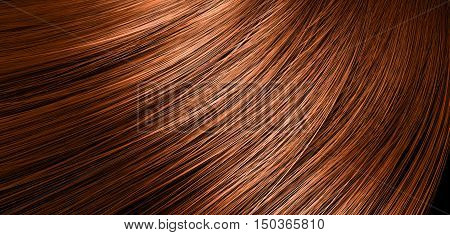 A 3D render of a closeup view of a bunch of shiny straight ginger hair in a wavy curved style