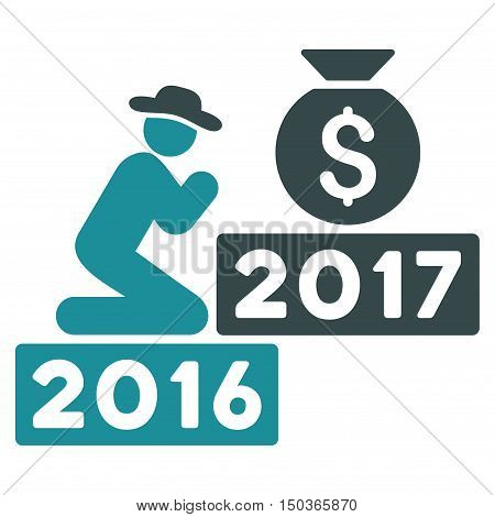 Pray for Money 2017 vector icon. Style is flat graphic symbol, soft blue colors, white background.